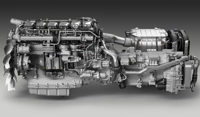 Scania 13-litre Euro 6 powertrain with integrated silencer and exhaust aftertreatment.